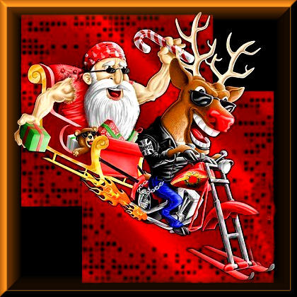 Biker Santa and Biker Rudulph