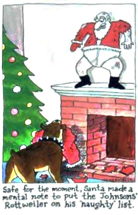 Santa made a mental not to put the Johnson rottweiler on his naughty list